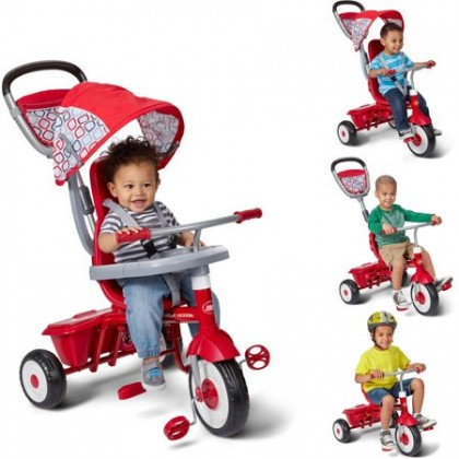 Radio Flyer RF449 Ez Quick Fold Stroll 'N Trike Sturdy Steel Frame 4 Ways to Ride Children's Red Trike