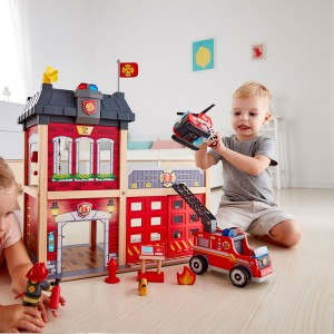 Hape Station Fire Truck and Helicopter-Dollhouse Playset