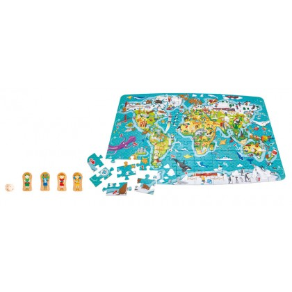 Hape 1626 2 in 1 World Tour Puzzle and Game