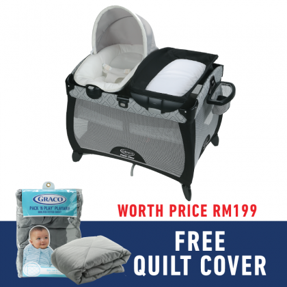 Graco  Quick Connect™ Portable Napper  for newborn up to 3 years (FREE QUILT COVER)- Asher