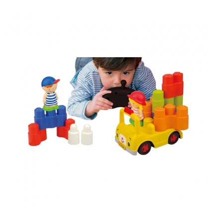 K's Kids Remote Control School Bus with building blocks for Kids age 3 years & Above