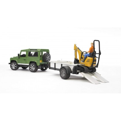 Bruder 02593 Land Rover Defender with One Axle Trailer, JCB Micro Excavator and Worker