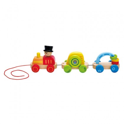 Hape 0431 Triple Play Train Pull Toy for Toddler Age 12 month+