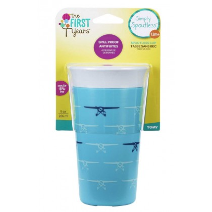 TFY US BPA-Free Simply Spoutless Cup 9oz for Toddler 12months+ - 1pk Blue