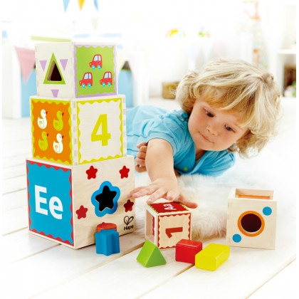 Hape 0413 Pyramid of Play Stacking Blocks for Kids 18 months+