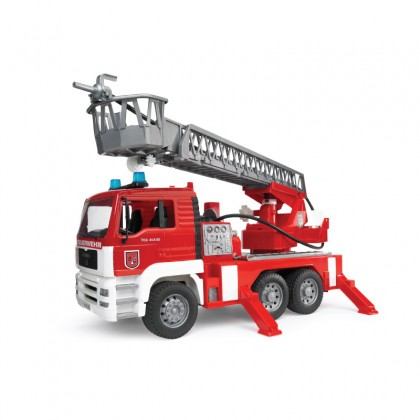 Bruder 01981 MAN TGA Fire Engine with Ladder, Water Pump, L+S Module and Toy Helmet
