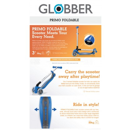 Globber 432110 Scooter Primo Foldable Deep Pink For 3+