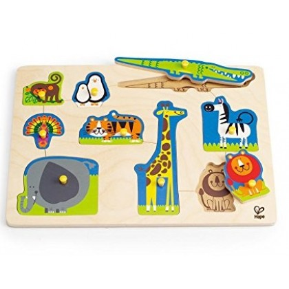 Hape 1403 Wild Animals Pegged Puzzle