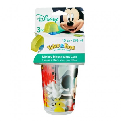 The First Year Mickey Mouse Take&Toss 10oz Sippy cup 3pk w/travel cap