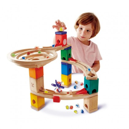 Hape 6021 Quadrilla Marble Run Race to the Finish STEM toy FREE Marble Catcher (HP6030)
