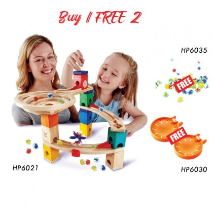 Hape 6021 Quadrilla Marble Run Race to the Finish STEM toy FREE Marble (HP6030) & (HP6035)