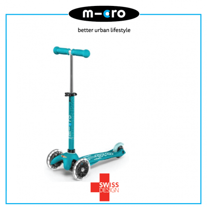 Micro 076 Mini Deluxe Scooter LED Wheels  for age 2-5 years - Aqua
