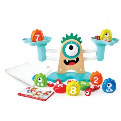 Hape 0511 Monster Math Scale | 22-Piece Wooden Counting, Balancing, Measuring Weight Toy Playset For Preschoolers