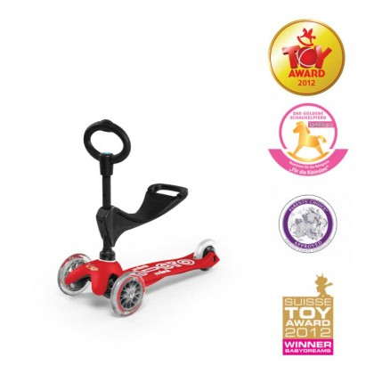 Micro Mini 3in1 Deluxe 3-Stage 015 Ride-on for Ages 12 Months to 5 Years - Red