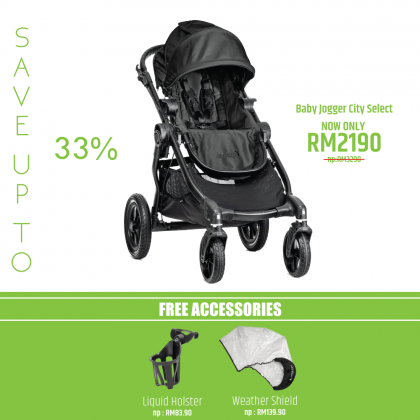 Baby Jogger City Select  Stroller FREE Weather Shield and Cup Holder (Worth Price RM223.80) For Newborn Onwards -Black
