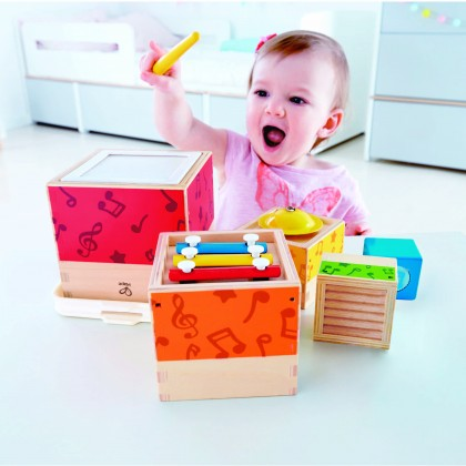 Hape 0336 Stacking Music Set Colorful 6 Piece Musical Box Toy, Wooden Set for Kids 18 Months+