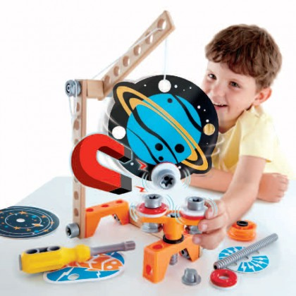 Hape 3033 Junior Inventor Magnet Science Lab 34-Piece Magnetic Science Kit, STEAM Educational Toys for Kids 4 Years+