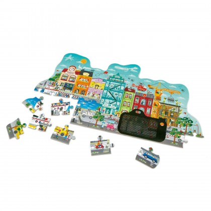 Hape 1629 Animated City Puzzle 49-piece cityscape puzzle with a magic card camera viewer for 4years+
