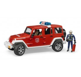 Bruder Jeep Wrangler Unlimited Rubicon Fire Dept Vehicle with Fireman