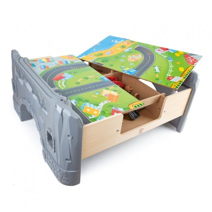 Hape 3766 70 Piece Railway Train Set and Table with Battery Powered Locomotive and Removable Playmat Surface for Kids 3 Years and Up