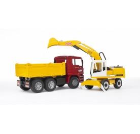 Bruder MAN TGA Construction Truck and Liebherr Excavator