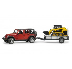 Bruder Jeep Wrangler Unlimited Rubicon, One Axle Trailer + CAT SKid