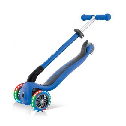 Globber 432-100-2 Primo Foldable Lights Scooter for kids age 3+ up to 50 kg~ Navy Blue with Anodized T-bar