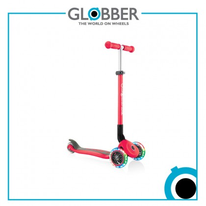 Globber 432-102-2 Primo Foldable Light Scooter for kids age 3+ up to 50 kg~New Red with Anodized T-bar