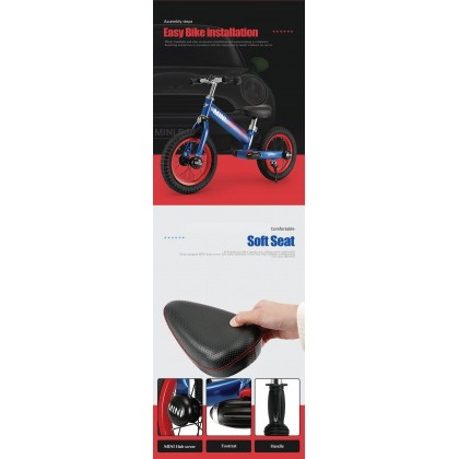 "Rastar 1204 Mini Copper 12"" Kid Balance Bike ~ Black"
