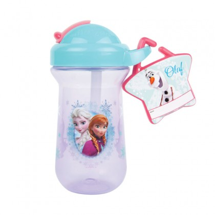 The First Year 11517 Disney Frozen Flip Top Straw Cup with Charm Name Tag-10oz