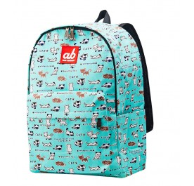 AB Kitty-on-Mint Kid Canvas Backpack