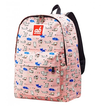 AB Kitty On Pink Kid Canvas Backpack