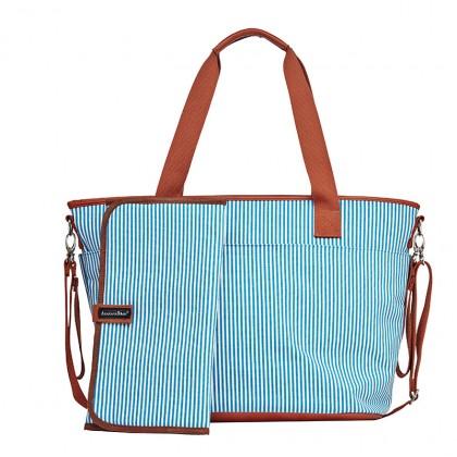 Tiki Tote Sling Diaper Bag (Blue & White stripe)