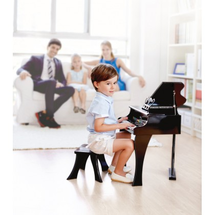 Hape Happy Grand Piano Black Music Toy for Kids age 3 years & Up