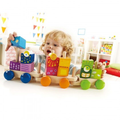 Hape 0417 Fantasia Block Train Educational Blocks for Toddler 12 month+