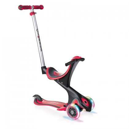 Globber Evo 5-in-1 Convertible Scooter with LED Light Up Wheels Red