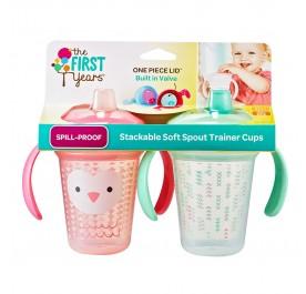 TFY Stackable 7oz Soft Spout Trainer Cup - 2pk Pink