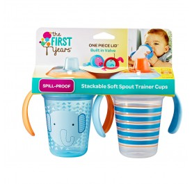TFY Stackable 7oz Soft Spout Trainer Cup - 2pk Blue