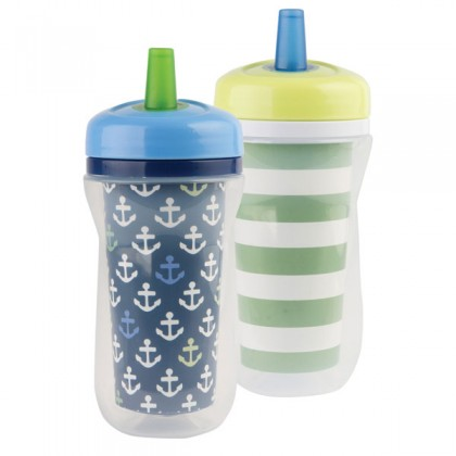 TFY USA BPA-Free Super Chill Straw 9oz Insulated Cups 2Pk for Toddler 9 months + - Blue